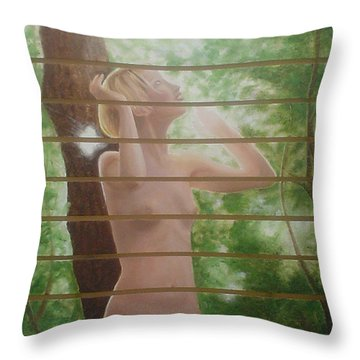 Nude Forest Throw Pillow by Angel Ortiz