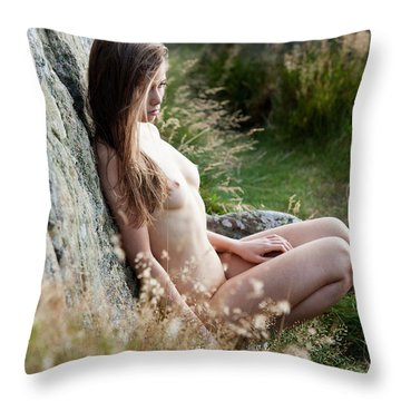 Nude Girl In The Nature Throw Pillow
