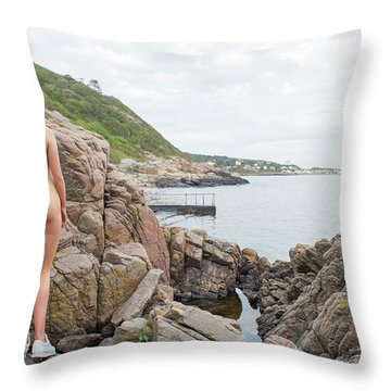 Nude Girl On Rocks Throw Pillow