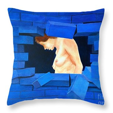Nude Lady Through Exploding Wall Throw Pillow