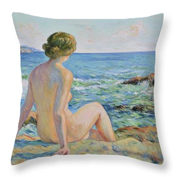 Nude On The Coast Monaco Throw Pillow by Pierre Van Dijk