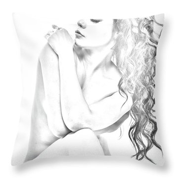 Nude Sketch Throw Pillow