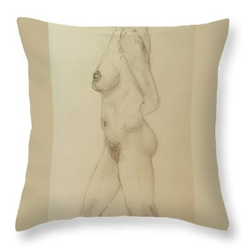 Nude Torso Standing Throw Pillow by Rand Swift