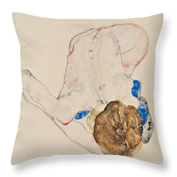 Nude With Blue Stockings, Bending Forward Throw Pillow