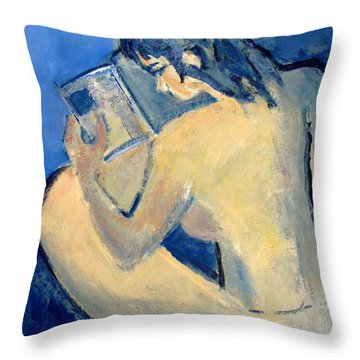 Nude With Nose In Book Throw Pillow