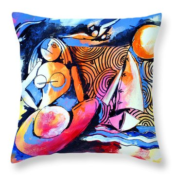 Nude Woman And Sailboat Throw Pillow