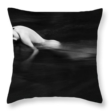 Nude Woman In River Throw Pillow by Monica and Michael Sweet - Printscapes