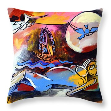Nude Woman On Beach 2 Throw Pillow
