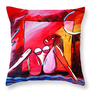 Nude Woman On Beach 3 Throw Pillow