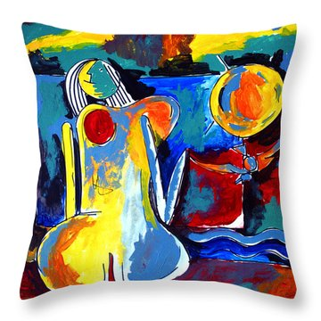 Nude Woman On Beach 6 Throw Pillow