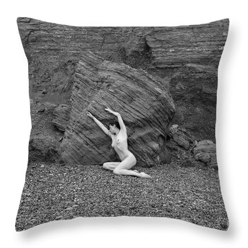 Nude Woman Pulling Shape By Rocks Throw Pillow