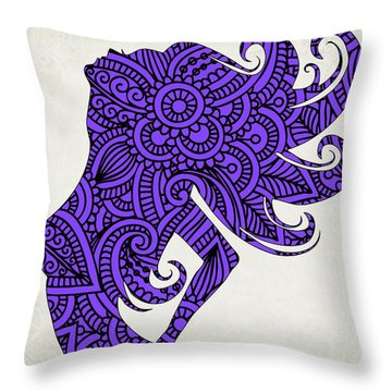 Nude Woman Silhouette Ultraviolet Throw Pillow