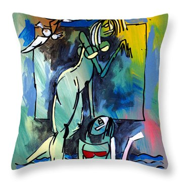 Nude Women On Beach Throw Pillow