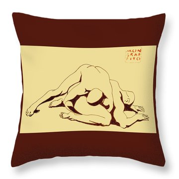 Nude Wrestlers 4 Throw Pillow