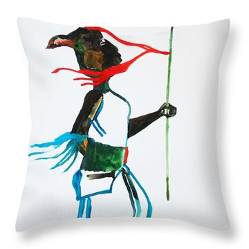 Nuer Dance - South Sudan Throw Pillow