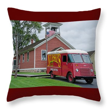 Nueske Meat Store Throw Pillow by Susan  McMenamin
