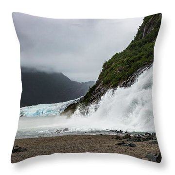 Throw Pillow featuring the photograph Nugget Falls And The Mendenhall by Ed Clark