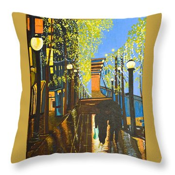 Nuit De Pluie Throw Pillow by Donna Blossom