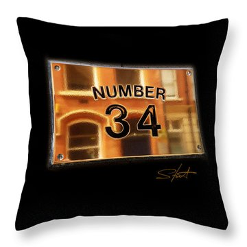Number 34 Throw Pillow by Charles Stuart