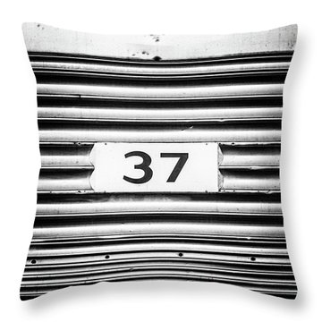 Number 37 Metal Square Throw Pillow by Terry DeLuco