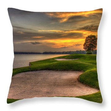 Throw Pillow featuring the photograph Number 4 Sunset Traps Reynolds Plantation by Reid Callaway