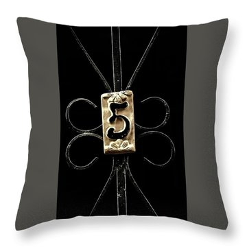 Number 5 Throw Pillow by Bruce Carpenter