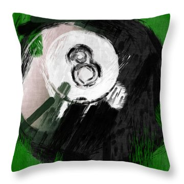 Number Eight Billiards Ball Abstract Throw Pillow by David G Paul