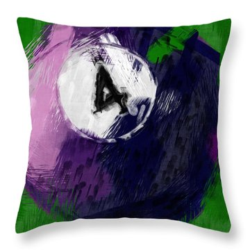 Number Four Billiards Ball Abstract Throw Pillow by David G Paul