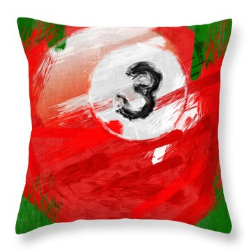 Number Three Billiards Ball Abstract Throw Pillow