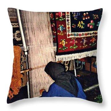 Nun Knotting Carpet Throw Pillow by Sarah Loft