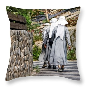 Nuns In A Row Throw Pillow by Cameron Wood