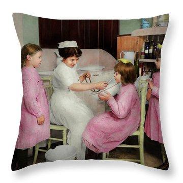 Throw Pillow featuring the photograph Nurse - Playing Nurse 1918 by Mike Savad