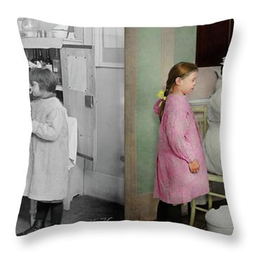 Throw Pillow featuring the photograph Nurse - Playing Nurse 1918 - Side By Side by Mike Savad