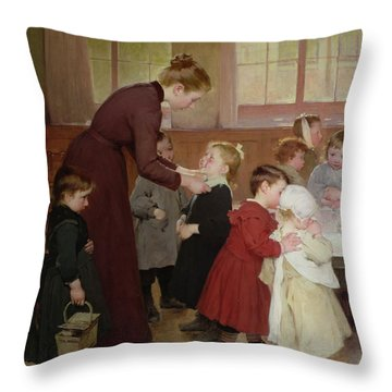 Nursery School Throw Pillow by Hneri Jules Jean Geoffroy