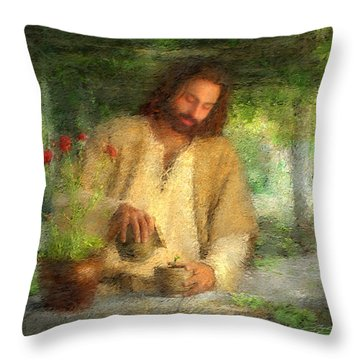 Throw Pillow featuring the painting Nurtured By The Word by Greg Olsen