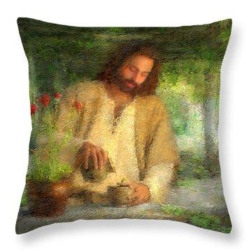 Nurtured By The Word Throw Pillow by Greg Olsen