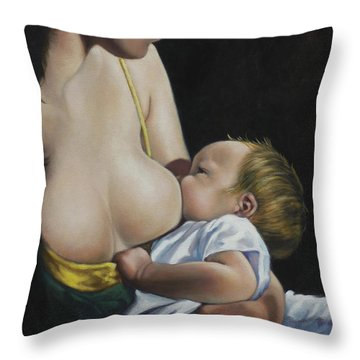 Nurturing Throw Pillow by Harvie Brown