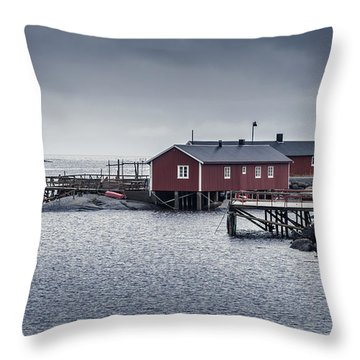 Throw Pillow featuring the photograph Nusfjord Rorbu by James Billings