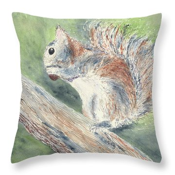 Throw Pillow featuring the painting Nut Job by Kathryn Riley Parker