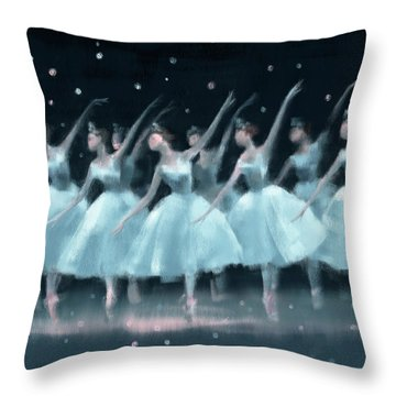 Nutcracker Ballet Waltz Of The Snowflakes Throw Pillow