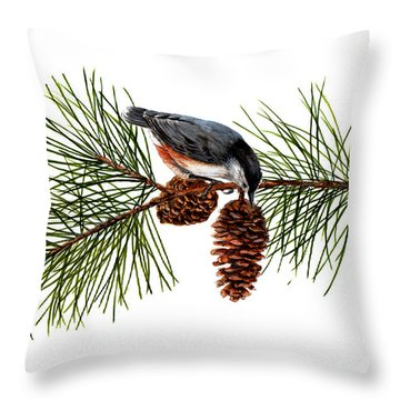 Nuthatch 1 Throw Pillow