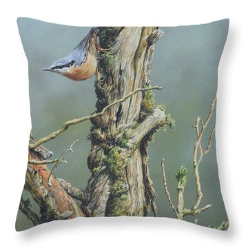Throw Pillow featuring the painting Nuthatch by Alan M Hunt