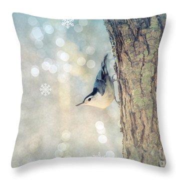 Nuthatch Season's Greetings Throw Pillow