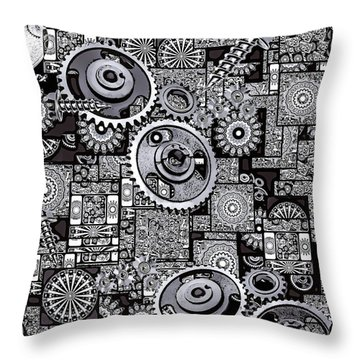 Throw Pillow featuring the digital art Nuts And Bolts by Eleni Mac Synodinos