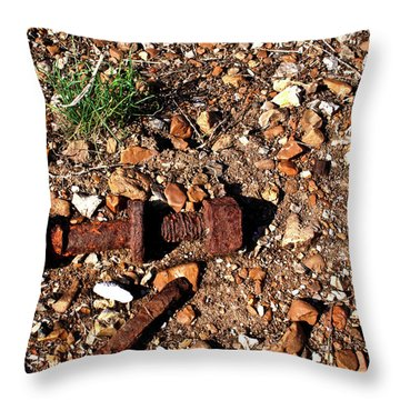 Nuts And Bolts Rusted Throw Pillow by Douglas Barnett