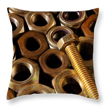 Nuts And Screw Throw Pillow by Carlos Caetano