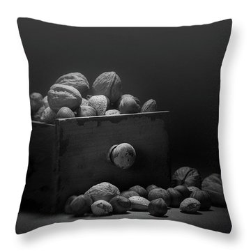 Throw Pillow featuring the photograph Nuts In Black And White by Tom Mc Nemar