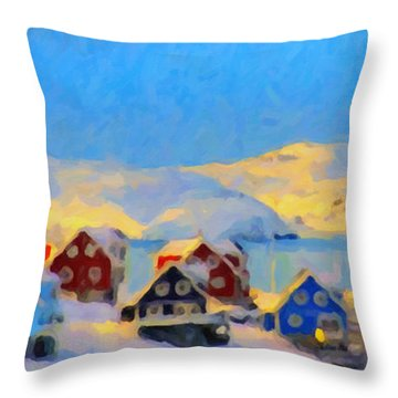 Nuuk, Greenland Throw Pillow by Chris Armytage