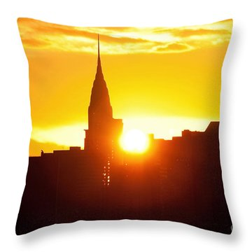 Ny Chrysler Building Sunrise Throw Pillow by Regina Geoghan