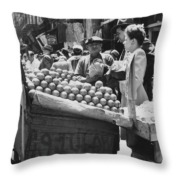 Ny Push Cart Vendors Throw Pillow by Underwood Archives